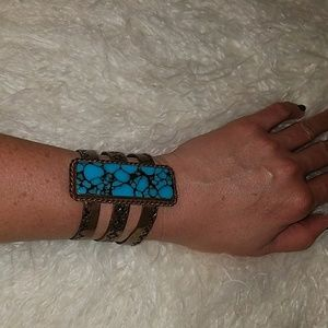 Genuine Turqoise and Copper Cuff bracelet